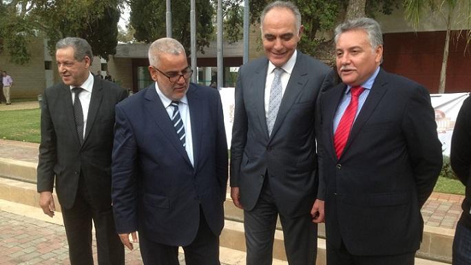 Le quarteron gouvernemental : Mohamed Laenser du Mouvement populaire; Abdelilah Benkirane du PJD; Salaheddine Mezouar du RNI et Nabil Benabdallah du PPS.