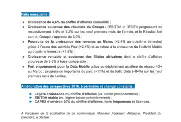 Maroc Telecom: RÉSULTATS CONSOLIDES DES NEUF PREMIERS MOIS 2016