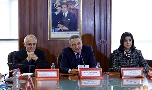 Passation des pouvoirs entre Abdelahad Fassi Fihri et Moulay Hafid Elalamy