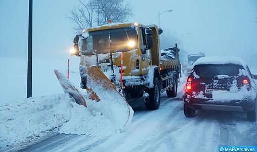 Rétablissement de la circulation sur tous les axes routiers enneigés