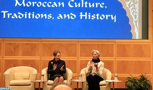 Lalla Joumala Alaoui et Christine Lagarde président à Washington une cérémonie célébrant le Maroc et son histoire