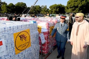 SM le Roi supervise personnellement, le Mardi 29 Mai,  l'opération d'acheminement de l'aide humanitaire au peuple palestinien frère