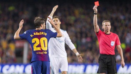 FC Barcelone: Quatre matchs de suspension pour Sergi Roberto après son exclusion contre le Real