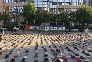 Avaaz ont posé 4.500 paires de chaussures en face du Parlement européen à Bruxelles Chacun d'entre eux est censé représenter une vie perdue à gaza