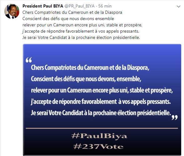 Candidature de Paul Biya Twitter