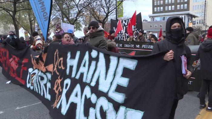 Manifestation à Montréal contre le racisme et le nouveau gouvernement