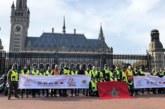 Arrivée à la Haye des motards participant à la 6-ème édition du Tour international de solidarité des motos de la Marche verte