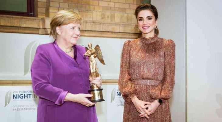 La reine Rania salue l'engagement d'Angela Merkel pour les réfugiés