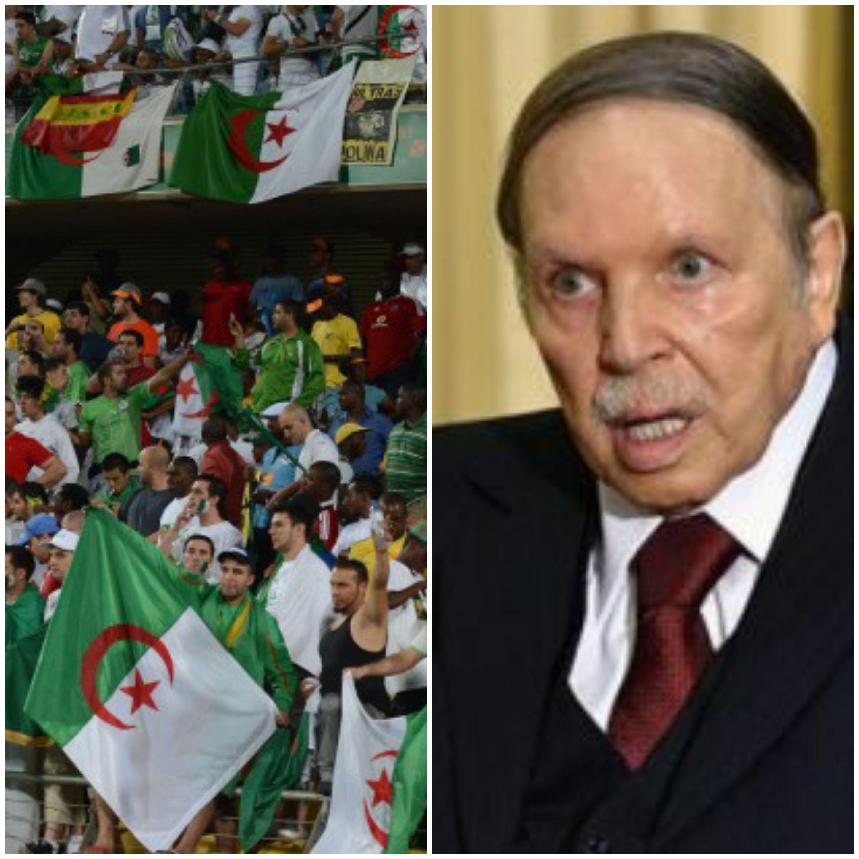 Les supporters algériens expriment leur colère contre Bouteflika lors d'un match de football