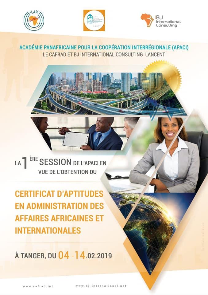 Clôture du Certificat d'Aptitudes en Administration des Affaires Africaines et Internationales lancé par le CAFRAD