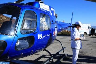 Evacuation héliportée vers le CHU d'Oujda d'une victime d'un accident de circulation