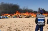 Dakhla : Incinération de quantités importantes de stupéfiants et de cigarettes